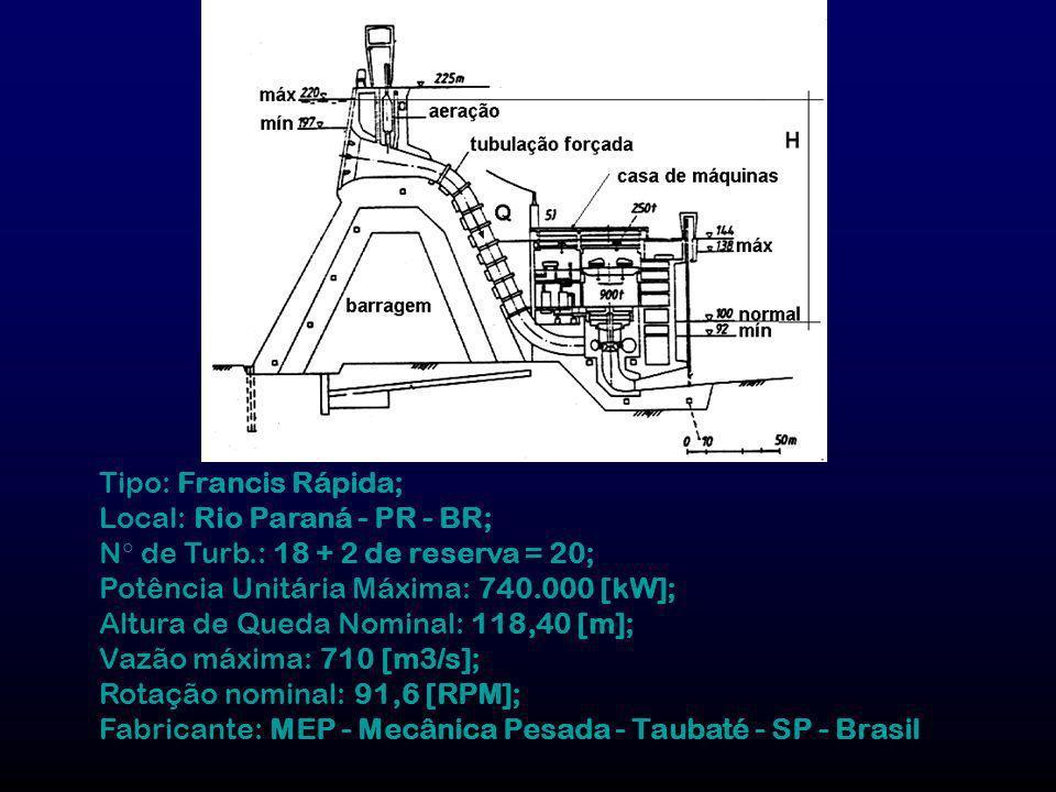 Tipo: Francis Rápida; Local: Rio Paraná - PR - BR; N de Turb.: 18 + 2 de reserva = 20; Potência Unitária Máxima: 740.000 [kW];